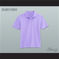 Men's Solid Color Biloba Flower Polo Shirt