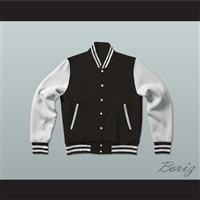 Black and White Varsity Letterman Jacket-Style Sweatshirt