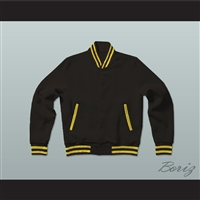 Black and Yellow Varsity Letterman Jacket-Style Sweatshirt
