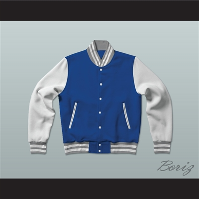 Blue, Gray and White Varsity Letterman Jacket-Style Sweatshirt