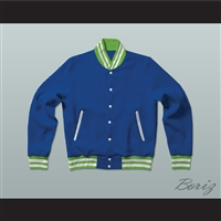 Blue, Lime Green, and White Varsity Letterman Jacket-Style Sweatshirt