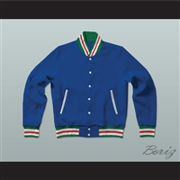Blue, Red, Green and White Varsity Letterman Jacket-Style Sweatshirt