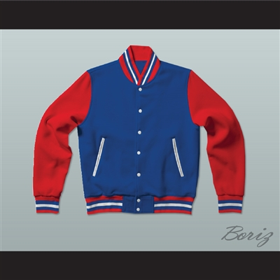 Blue, Red and White Varsity Letterman Jacket-Style Sweatshirt