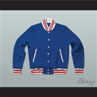 Blue, Red, and White Varsity Letterman Jacket-Style Sweatshirt