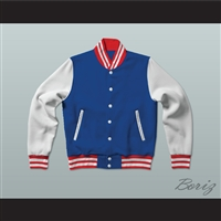 Blue, White and Red Varsity Letterman Jacket-Style Sweatshirt