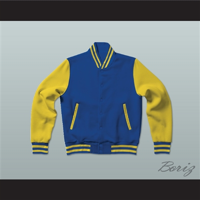 Blue and Yellow Varsity Letterman Jacket-Style Sweatshirt