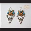 P Middleton Cat Earrings Sterling Silver .925 with Micro Inlay Stones