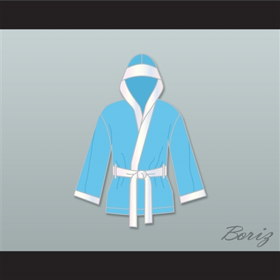 Clubber Lang South Side Slugger Light Blue Satin Half Boxing Robe with Hood