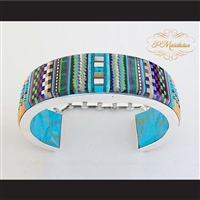 P Middleton Cobblestone Micro Inlay Cuff Bracelet Sterling Silver .925 Micro Inlay Stones
