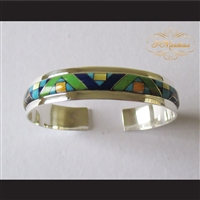 P Middleton Geometric Micro Inlay Cuff Bracelet Sterling Silver .925