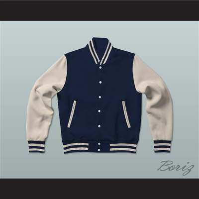 Dark Blue and Cream Varsity Letterman Jacket-Style Sweatshirt
