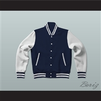 Dark Blue and White Varsity Letterman Jacket-Style Sweatshirt