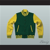Dark Green and Yellow Varsity Letterman Jacket-Style Sweatshirt