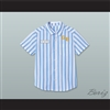Dexter Good Burger Light Blue/ White Striped Polo Shirt 1