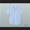 Dexter Good Burger Light Blue/ White Striped Polo Shirt 3