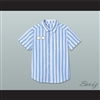 Ed Good Burger Light Blue/ White Striped Polo Shirt 3