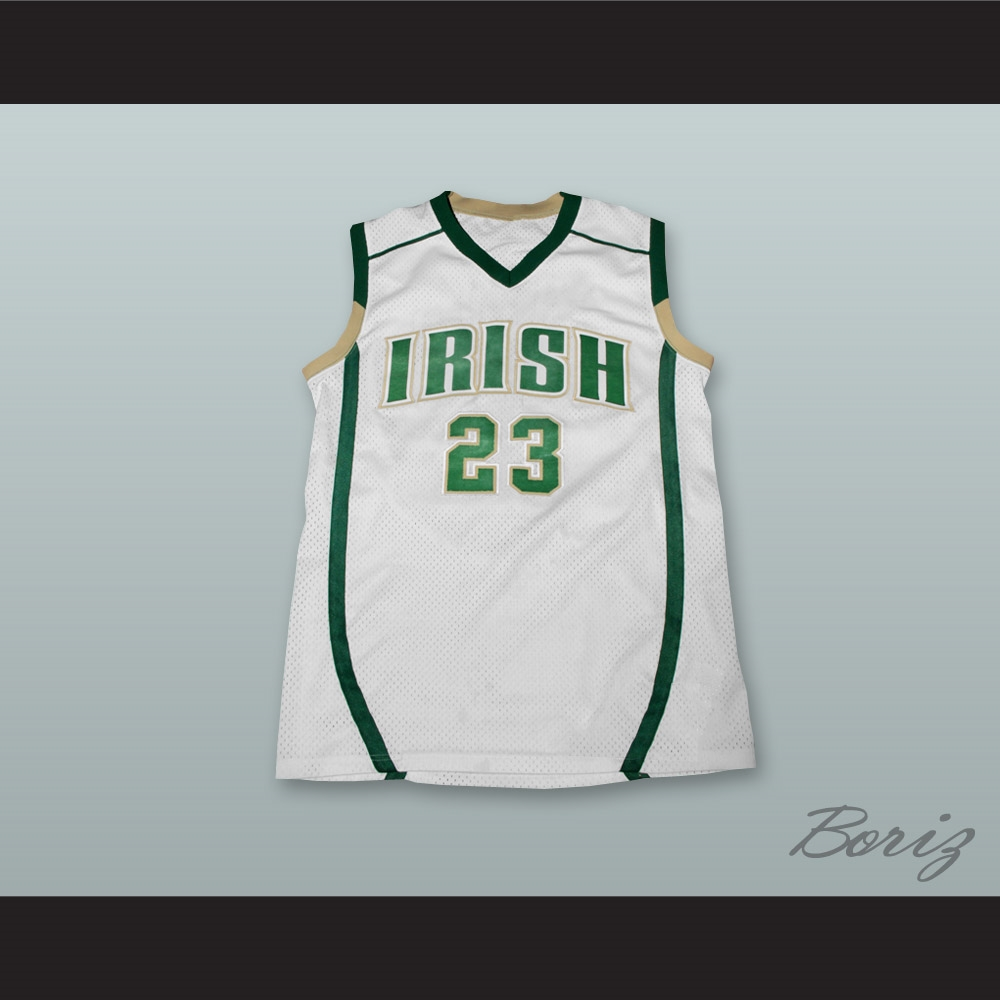 reputable site 97dee 7ff2a Lebron James Fighting Irish High School White Basketball Jersey Stitch Sewn