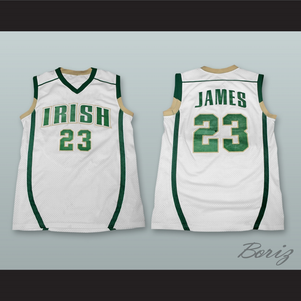 reputable site 4ad10 dd96e Lebron James Fighting Irish High School White Basketball Jersey Stitch Sewn