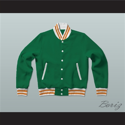Green, White and Orange Varsity Letterman Jacket-Style Sweatshirt