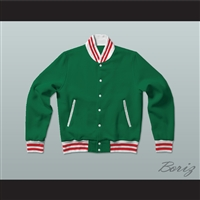Green, White and Red Varsity Letterman Jacket-Style Sweatshirt