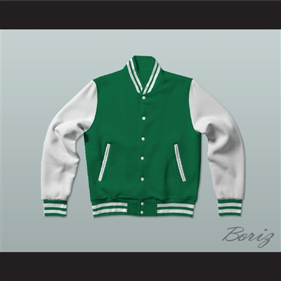 Green and White Varsity Letterman Jacket-Style Sweatshirt