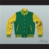 Green and Yellow Varsity Letterman Jacket-Style Sweatshirt