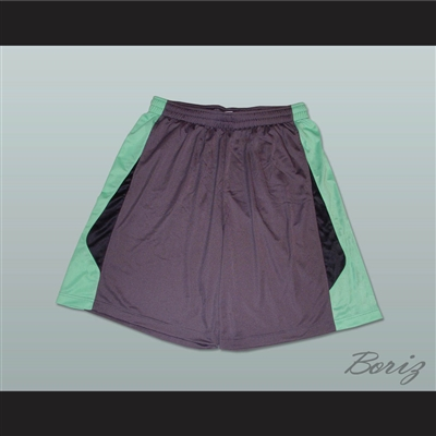 Grey Light Green and Black Basketball Shorts