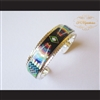 P Middleton Radiant Diamond Micro Inlay Sterling Silver .925 Cuff Bracelet