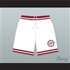 Hillman College White Basketball Shorts with Eagle Patch