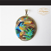 P Middleton Toucan Bird Pendant Sterling Silver .925 Micro Inlay