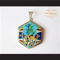 P Middleton Pineapple Hexagon Pendant Sterling Silver .925 Micro Inlays