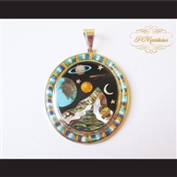 P Middleton Cosmic Scene Pendant Sterling Silver .925 with Micro Inlay Stones