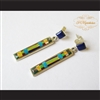 P Middleton Multi-Stone Rectangle Earrings Sterling Silver .925 with Micro Inlay Stones