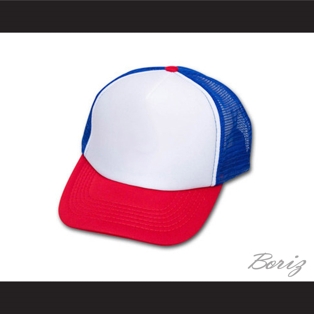 Dustin Henderson Stranger Things Red White Blue Trucker Mesh Baseball Hat 65232fc24e5a