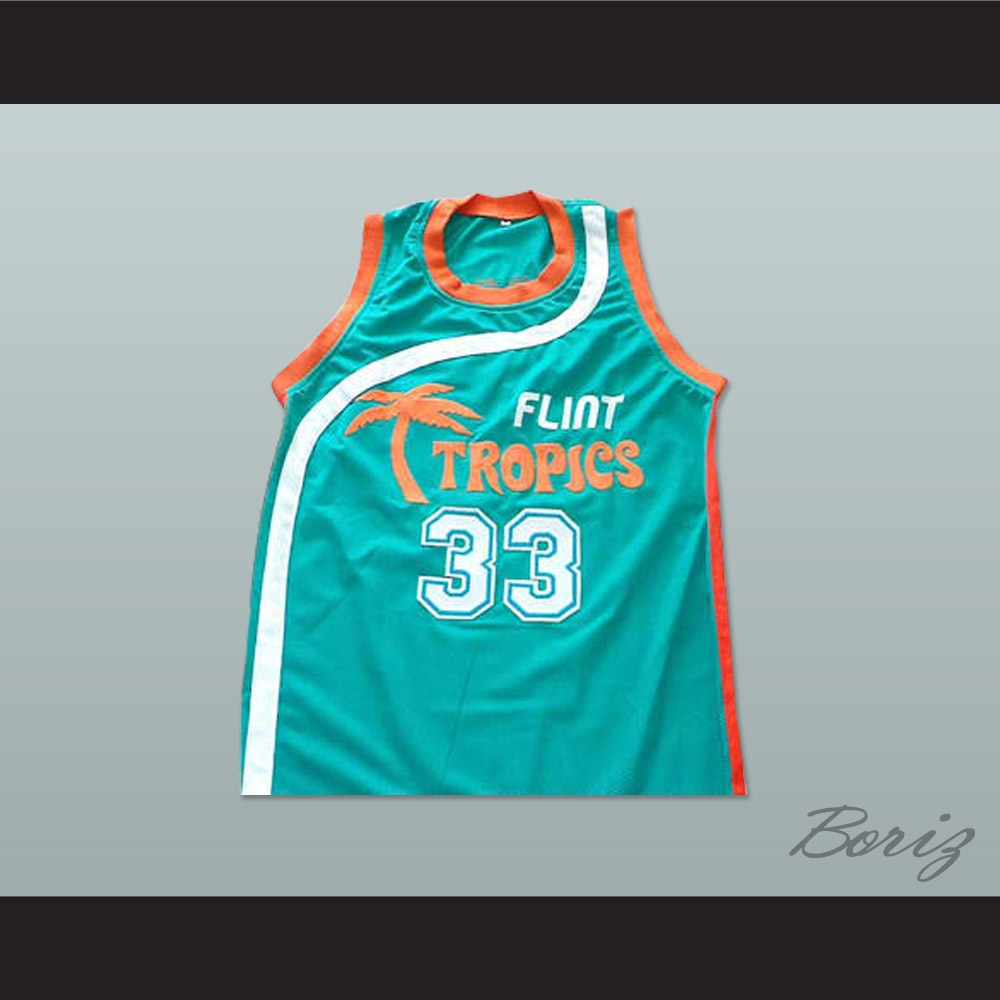 04b534ba4657 Will Ferrell Flint Tropics 33 Jackie Moon Teal Basketball Jersey Semi ...