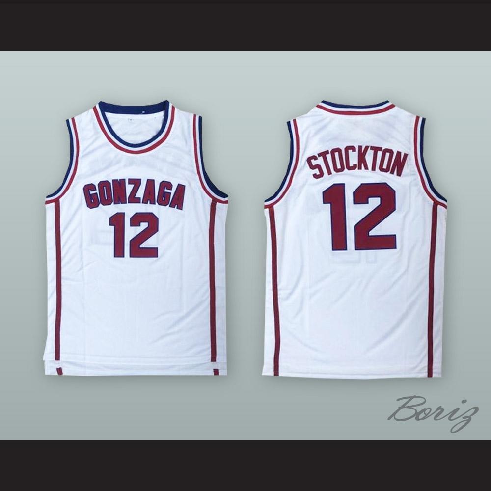 timeless design 595d4 ec689 John Stockton 12 Gonzaga White Basketball Jersey