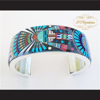 P Middleton Kachina Sun Cuff Bracelet Sterling Silver .925 with Micro Inlay Stones