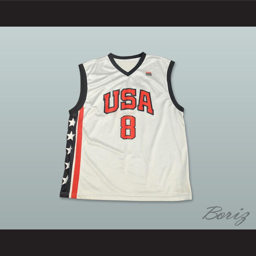 buy online 3e17b c13fe Kobe Bryant 8 Team USA White Basketball Jersey