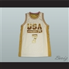 Larry Bird USA White and Gold Basketball Jersey