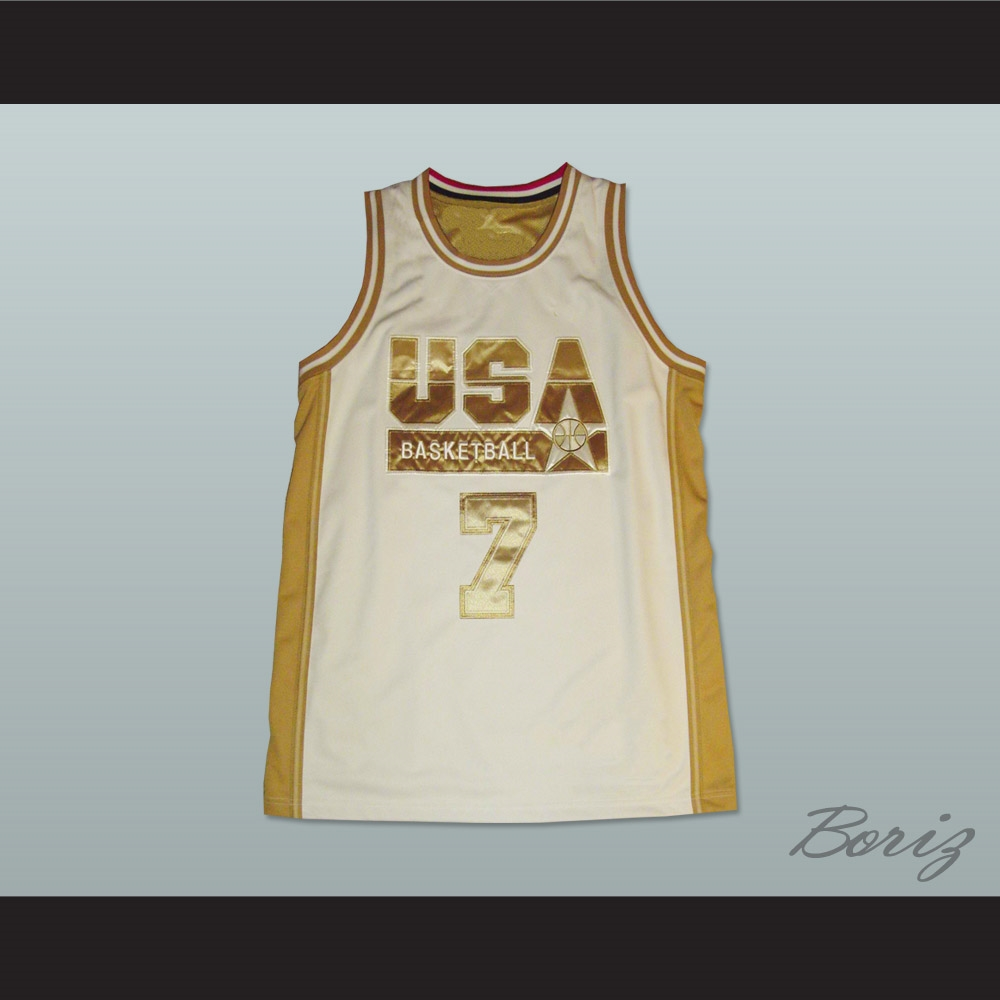 c24c574569cf Larry Bird USA White and Gold Basketball Jersey
