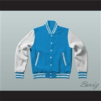 Light Blue and White Varsity Letterman Jacket-Style Sweatshirt