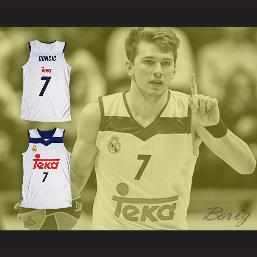 best service dea15 1739c Luka Doncic 7 Real Madrid White Basketball Jersey