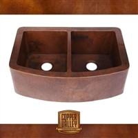 Copper Valley Farmhouse Sink Double Sink Curved Apron 14 Gauge