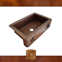 Copper Valley Farmhouse Sink 14 Gauge Rings and Rivets on Apron