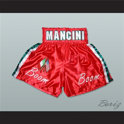 Ray 'Boom Boom' Mancini Red Boxing Shorts with Embroidered Flags Patch