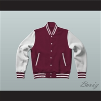 Maroon and White Varsity Letterman Jacket-Style Sweatshirt