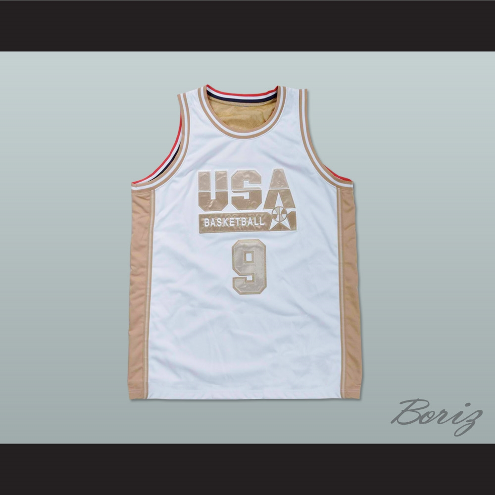 the latest 426ca 462d3 Michael Jordan USA White and Gold Basketball Jersey