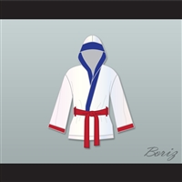 'Irish' Micky Ward White Satin Half Boxing Robe with Hood