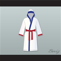 'Irish' Micky Ward White Satin Full Boxing Robe with Hood