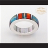 P Middleton Turquoise Multi-Color Micro Inlay Sterling Silver .925 Band Ring